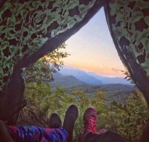 Вид из туристической палатки