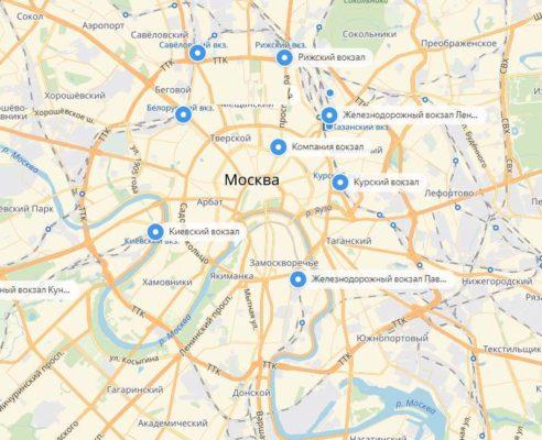 Вокзалы Москвы на карте