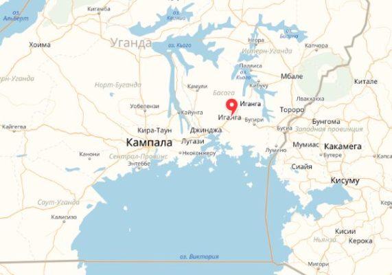 Город Иганга на карте Уганды в Африке
