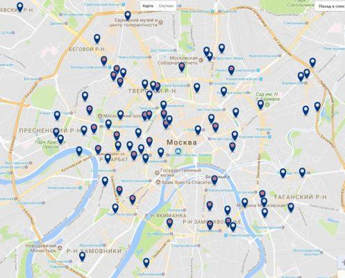 Карта отелей Москвы