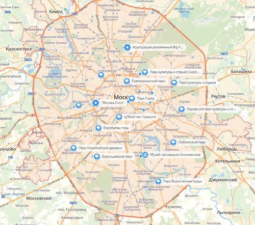 Парки Москвы на карте