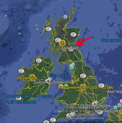 Эдинбург на карте Великобритании