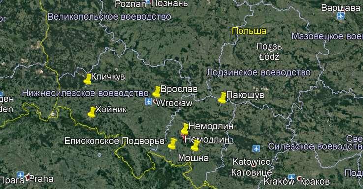 карта Польши с достопримечательностями